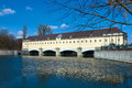 Dam on the isar in gruental munich in germany blue sky and some clouds Royalty Free Stock Images