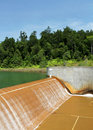 Dam on raw water reservoir Stock Photos