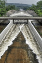 Dam spreading water drain overflow from the nechranice czech republic Stock Photos
