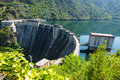 Dam of water power plant on sil river galicia spain Royalty Free Stock Photos