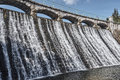The dam and waterfall on the river Royalty Free Stock Photo