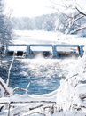 Dam white steaming winter snow Stock Image