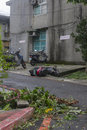 Damage done by the typhoon soulik to the taipei city taiwan july hit taiwan between july th and th causing severe day after Stock Photo