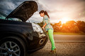 Damage to vehicle problems on the road. Royalty Free Stock Photo