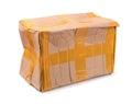 Damaged cardboard box isolated on white Royalty Free Stock Photo