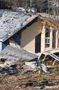 Damaged house destroyed by an f tornado Royalty Free Stock Photo
