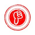Damaged round red stamp with thumb down - vector Royalty Free Stock Photo