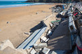 Damages in lekeitio after hurricane christine leketio spain march damaged architecture at the entrance to the beach of the basque Royalty Free Stock Photo
