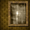 Damask background with grungy frame Royalty Free Stock Photos