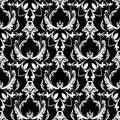 Damask baroque floral seamless pattern. Black white background w