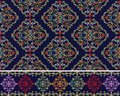 Damask Baroque seamless pattern and border. Set.