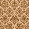 Damask brown seamless texture Royalty Free Stock Photography