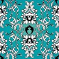 Damask floral seamless pattern. Light blue background wallpaper Royalty Free Stock Photo