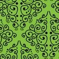 Damask inspired hand drawn line art on green background seamless pattern.