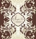 Damask invitation card Stock Photo