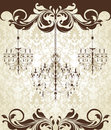 Damask invitation card with chandelier Royalty Free Stock Images