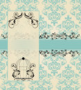 Damask invitation card vintage blue with floral elements Stock Photo