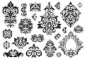 Damask ornament. Vintage floral sprigs pattern, baroque ornaments and victorian decor ornamental patterns vector