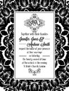 Damask pattern design for wedding invitation in black and white. Brocade royal frame and exquisite monogram