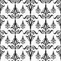 Damask seamless floral pattern royal wallpaper flowers and crowns in black on white background monochrome eps Stock Image