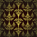 Damask seamless floral pattern royal wallpaper flowers and crowns on a dark background eps Royalty Free Stock Images