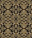 Damask seamless golden vector floral wallpaper