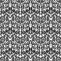 Damask Seamless pattern. Hearts made in swirls, leaves and flora