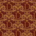 Damask seamless pattern repeating background. Gold burgundy floral ornament with D letter and crown in baroque style Royalty Free Stock Photo