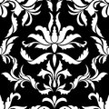 Damask Seamless Vector Pattern in Black and White colors. Elega
