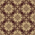 Damask seamless vector pattern orient golden floral with arabesque and oriental elements abstract traditional ornament for Stock Photography