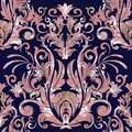 Damask vector seamless pattern. Floral baroque dark blue backgro Royalty Free Stock Photo