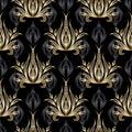 Damask vector seamless pattern. Gold Baroque wallpaper. Black fl