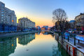 Dambovita river in Bucharest downtown at dusk - HDR Royalty Free Stock Photos