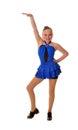 Dançarino de torneira adolescente de sorriso blue dress Imagens de Stock