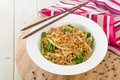 Dan dan noodles chinese with minced pork and sprouting broccoli in a fragrant spicy sauce sichuan cuisine Stock Photos