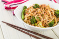 Dan dan noodles chinese with minced pork and sprouting broccoli in a fragrant spicy sauce sichuan cuisine Royalty Free Stock Photo
