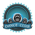 Dance club badge blue with many loudspeakers and the text written with white letters Stock Image