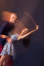 Dance couple motion blur long exposure Royalty Free Stock Photo