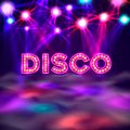 Dance floor banner, disco text signboard. Royalty Free Stock Photo