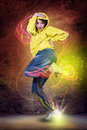 Dance girl young woman in sport dress dancing zumba Stock Photo