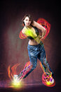 Dance girl young woman in sport dress dancing zumba Royalty Free Stock Photo