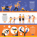 Dance And Gymnastic Training Banners Set Royalty Free Stock Photo