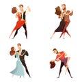 Dance Pair Retro Cartoon Set