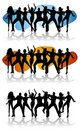 Dance Party Celebration Silhouettes Stock Images