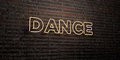 DANCE -Realistic Neon Sign on Brick Wall background - 3D rendered royalty free stock image Royalty Free Stock Photo