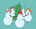 Dance snowmen around the christmas tree fun in multicolored caps green adorned with balls on a blue background Stock Photography