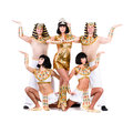 Dance team dressed egyptian costumes posing isolated white background full length Stock Photos