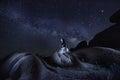 Dancer Alone Under the Milky Way in Joshua Tree National Park U Royalty Free Stock Photo