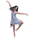 Dancer in Blue Silk Dress Royalty Free Stock Images