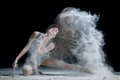 Dancer and flour female dirty in white Stock Photo